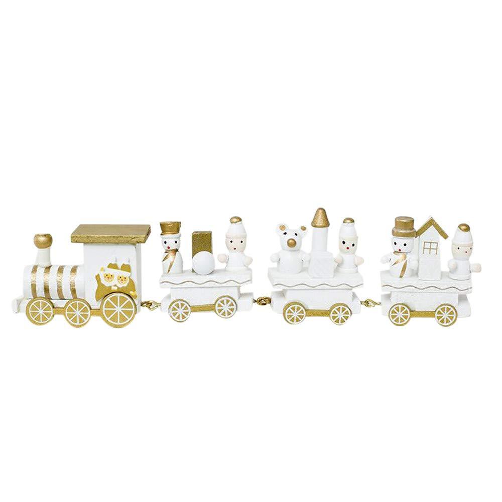 Ximandi Xmas Clearance,Christmas Mini Wooden Train Christmas Decorations for Children (White)