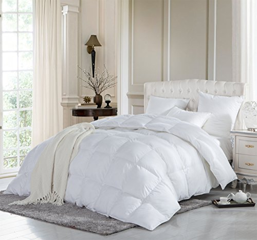 LUXURIOUS KING / CALIFORNIA KING Size Siberian GOOSE DOWN Comforter, Duvet Insert, 1200 Thread Count 100% Egyptian Cotton, 750+ Fill Power, 70 oz Fill Weight, 1200TC, White Solid