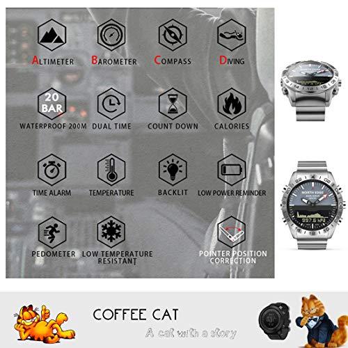 COFFEE CAT herrklocka 50 meter vattentät smart business undervattensklocka i rostfritt stål med hög tryckdjup