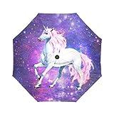 WECE Hipster Nebula Galaxy Space Unicorn Windproof Auto Open and Close Folding Travel Umbrella Portable Foldable Sun Rain Umbrella