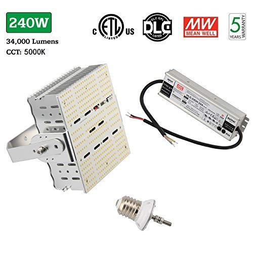 NGTlight 240W LED Shoebox Retrofit Kit Replace 1000watt Parking Lot Tennis Court Lights E39 Mogul Base 5000K Daylight LED Retrofit Flat Lamp 110volt 120volt 240volt 277volt Input