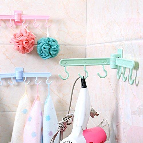 Wall Mounted Towel Hook - Bath Towel Hook Rack - BX-080 Foldable Wall Towel Hanger Hook Towel Rack Holder Clothes Hanging Space Save Rack - Green (Towel Hook Hanger) -