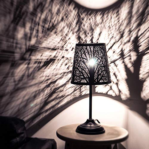 Table Lamp, Metal Hollowed-Out Shade Desk Lamp, Simple Style Night Stand Lamp for Bedroom, Living Room, Coffee Table, Office, Dining Table, Bed Lights (Forest-14.9in)