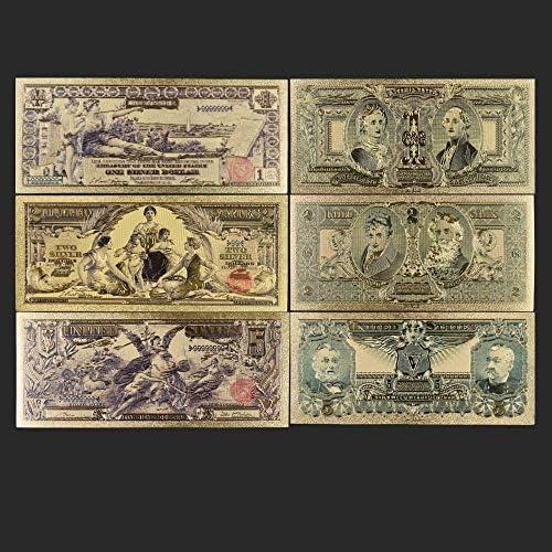 ZYZRYP 1896ゴールドアンティークメッキ土産3PCSコイン紙幣デコレーションアンティーク1つの2 5ドルのギフト24Kゴールドメッキ 使いやすい (色 : A)