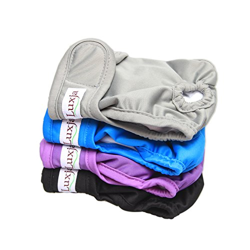 LUXJA Reusable Female Dog Diapers (Pack of 4), Washable Wraps for Female Dog (Small, Gray+Purple+Black+Blue) Diaper Funny Diaper Cover