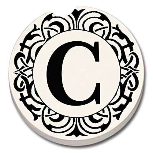 CounterArt 'Initially Yours' Absorbent Stoneware Car Coaster, Monogrammed