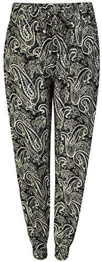Get The Trend Mujer Pantalones Estilo Arabe Estampado De Mujer Diseno De Flores Pitillo Holgado Pantalones Haren Crema Cachemira Enleg1708 Xl Xxl 42 44 Amazon Es Ropa Y Accesorios