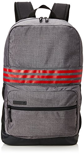 adidas 2017 Lightweight 3-Stripes Rucksack Medium Travel Backpack Mens Gym/Laptop Bag Dark Grey/Scarlett