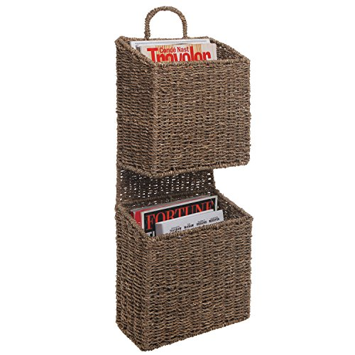 2 Tier Rustic Style Brown Woven Seagrass Wall Mounted Hanging Magazine Storage Organizer Basket Rack