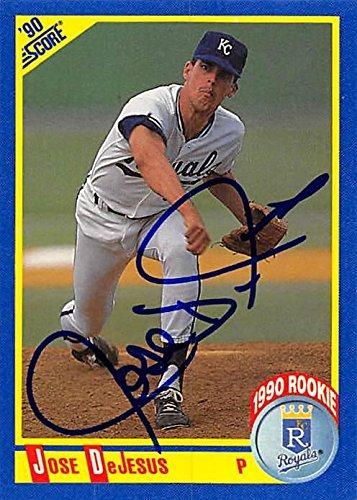 1990 Score Mlb Rookie Card - Jose DeJesus autographed Baseball Card (Kansas City Royals, FT) 1990 Score #587 Rookie - MLB Autographed Baseball Cards