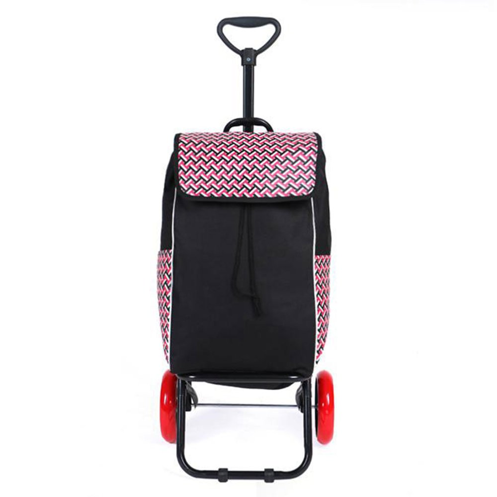 NAN 二輪車のポータブルスーパーマーケットショッピングカート折り畳み式トロリーカートシンプルでファッショナブルなショッピングカートカラーオプション トレーラー (色 : Black pink) B07DZDVRWN Black pink Black pink