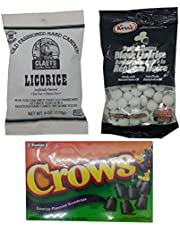 Black Licorice Candy Bundle: 1 Box of Tootsie Crows Black Licorice Gumdrops (184g), 1 Bag Kerr's Scotch Drops Black Licorice (200g) & 1 Bag Claey's Old Fashioned Hard Licorice Candies (170g)