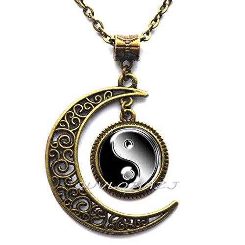 (QUVLOTIAZJ Glass Tile Necklace Ying Yang Necklace Black Jewelry Silver Necklace Silver Jewelry Ying Yang Jewelry,ot212 (A2))