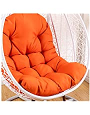 Swing Hammock Egg Chair Cushion Without Stand, Cotton Pads Removable Seat Cushions with Pillow, Overstuffed Hanging Baskets Rattan Chair Cushions 125x95 cm (49x37inch),Orange
