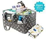 Baby Diaper Caddy| Nursery Diaper Tote Bag| Travel Portable Car Organizer| Boy Girl Diapers Storage Bin|Newborn Shower Gift Basket for Mom Dad Bonus Large Changing PAD Registry Baby Shower Must Haves