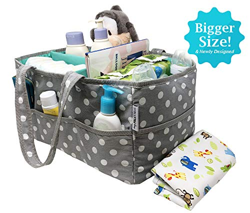 (Special Launch Baby Diaper Caddy Organizer - Nursery Storage Bin for Diapers Toys and Baby Essentials Bonus Large Changing MAT Registry Baby Shower Must)