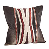 SARO LIFESTYLE 1376.N18S Cowhide Navajo Embroidered Design Down Filled Throw Pillow, Natural, 18''