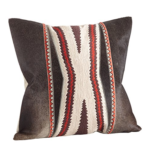 SARO LIFESTYLE 1376.N18S Cowhide Navajo Embroidered Design Down Filled Throw Pillow, Natural, 18'' by SARO LIFESTYLE