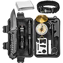 Survival Gear Emergency Kit – Essential Survival Kit w/Compass, Whistle, Knife, LED Flashlight, Tactical Pen, Paracord Bracelet & Blanket – Camping Gear, Hunting Accessories, Tools for Men & Women