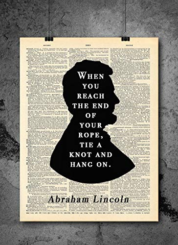Abraham Lincoln Quote When You Reach The End Vintage Dictionary Print 8x10 inch Home Vintage Art Abstract Prints Wall Art for Home Decor Wall Decorations For Living Room Bedroom Office Ready-to-Frame ()