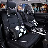 11 PCs Full Set Universal PU Leather Front and Rear Car Seat Cushion Cover Needlework Seat Pad Protectors (Black and White Lattice)