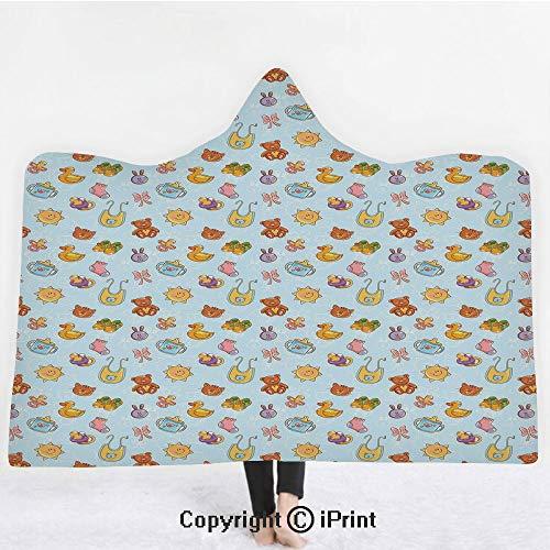 Baby 3D Print Soft Hooded Blanket Boys Girls Premium Throw Blanket,Newborn Sun Teddy Bear Ribbon Feeder Pacifier Chick Kitty Cat Design Decorative,Lightweight Microfiber(Kids 50