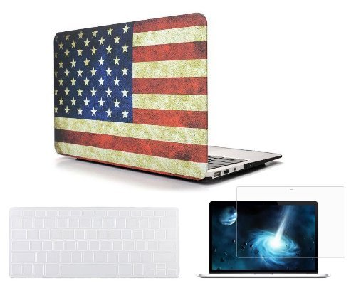 Cover Ibook Keyboard (Easygoby New Arriva American Flag Pattern 3 in 1 13-Inch Macbook Air Rubber Coated Matte Solid Hardshell Case Cover for MacBook Air 13.3
