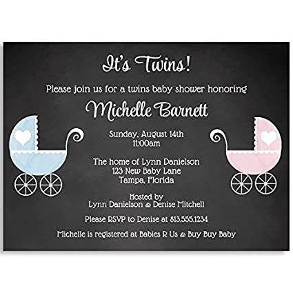 Amazon Com Baby Shower Invitations Chalkboard Carriage Vintage