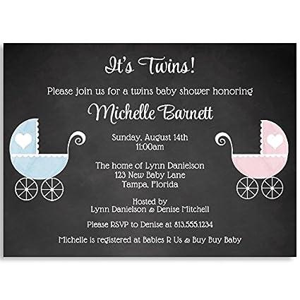 Amazon baby shower invitations chalkboard carriage vintage baby shower invitations chalkboard carriage vintage twins blue boy filmwisefo