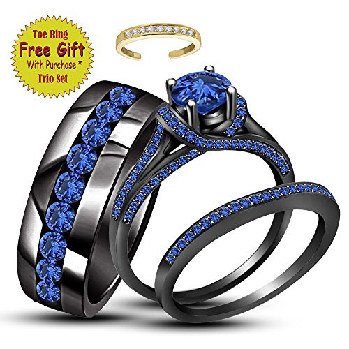 Christmas Offer 2.25ct Round Blue Sapphire 18K Black Gold FN His & Her Trio Ring Set by silvernshine Jewels