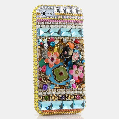 (iPhone 6S Bling Case, iPhone 6 Case - LUXADDICTION [Premium Quality] 3D Handmade Crystallized Bling Case Easy Grip Crystals Diamond Sparkle Elephant Colorful Design Cover for iPhone 6 / 6S)