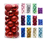Prudance 24ct Christmas Balls Ornaments Multicolor Decorations Tree Balls for Holiday Wedding Party Decoration,1.57',Red