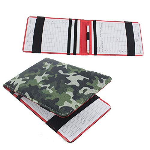 (Kofull Golf Scorecard Holder and Yardage Book Cover, Camouflage Effect Nylon -Free 1 Golf Pencil 10 Scorecard (Green))