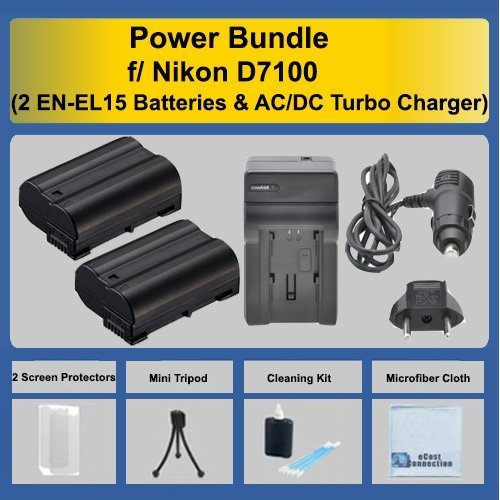 2 EN-EL15 Batteries + AC/DC Turbo Charger + Complete Deluxe Starter Kit for Nikon D7200, D7100 DSLR Camera