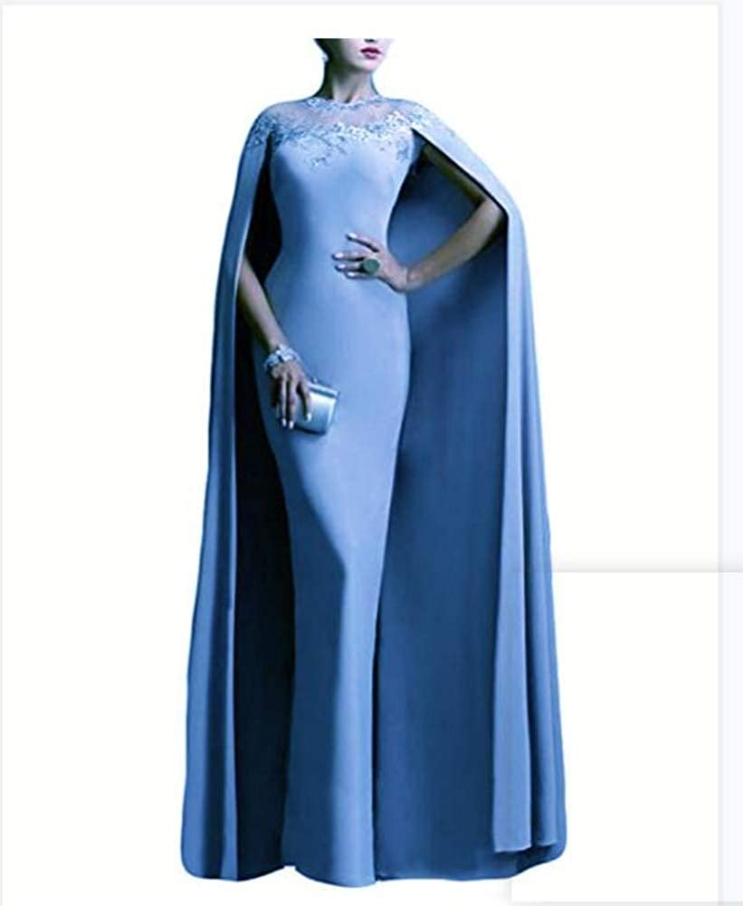 Ai maria Womens Mother of The Bride Long Formal Party Prom Dress with Cape Illusion Light Blue