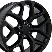 20x9 Wheel Fits GM Trucks & SUVs - GMC Sierra Style Satin Black Rim, Hollander 5668