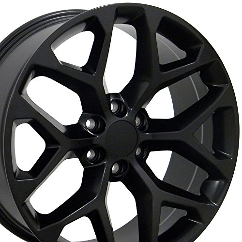 22×9 Wheel Fits GM Trucks & SUVs – GMC Sierra Style Satin Black Rim, Hollander 5668