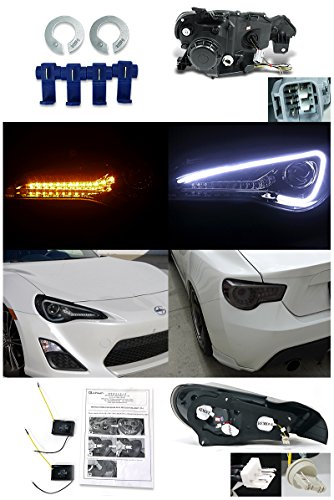 Glossy Black FR-S 86 LED Signal Strip Projector Headlight+LED Tail Lamp