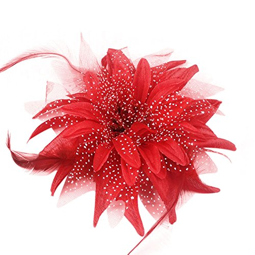 Mwfus Women's Mesh Net Feathers lily Flower Bow Hair Clip Headwear