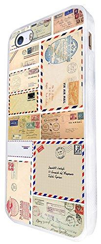 055 - Shabby Chic Vintage Letters Stamps Funky Design iphone SE - 2016 Coque Fashion Trend Case Coque Protection Cover plastique et métal - Blanc