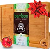 EXTRA LARGE Organic Bamboo Cutting Board with Juice Groove – Best Kitchen Chopping Board for Meat (Butcher Block) Cheese and Vegetables | Anti Microbial Heavy Duty Serving Tray w/ Handles – 18 x 12