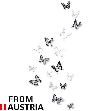 4yourpet Papillons 3d Noir Blanc Decoration Murale Sticker Mural