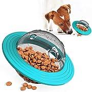 #LightningDeal USWT Dog Treat Ball, UFO Food Dispenser Puzzle Slow Feeder Ball, Interactive Dog Frisbee Toy