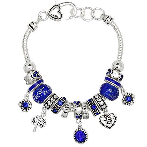 Falari Birthstone Bracelet Multi-Color Charm Beads Silvertone September OB07234-SEP -