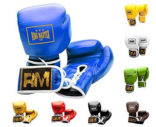 RingMasterUK Genuine Leather Boxing Gloves Pro Lace Up Fight Punch Pads Bag (Blue, 16 oz)