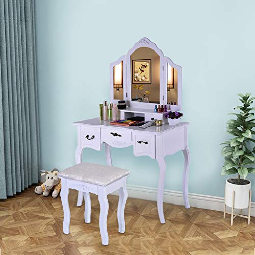 Maikouhai Vanity Beauty Station Dressing Makeup Table 3 Mirrors and 5 Organization Drawers Set for Jewelry, Cosmetics Storage with 1 Wooden Cushioned Stool, W35.4 x D15.75 x H57.5 (White)