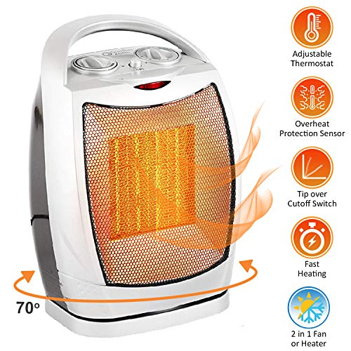 Oscillating Space Heater - Forced Fan Heating with Stay Cool Housing - Thermal Ceramic PTC with Tip-Over Safety Cut-Off, Overheat Protection and Adjustable Thermostat - Rotates 70° - by Bovado USA