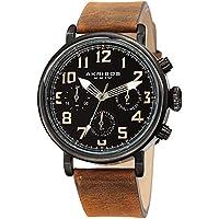 Akribos XXIV Men's AK1028BKBR Multifunction Black & Distressed Brown Leather Strap Watch