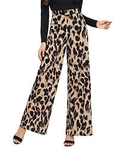 Verdusa Women's High Waist Button Fly Wide Leg Pants Long Palazzo Trousers Leopard M