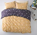 Minimal Style Geometric Shapes Duvet Quilt Cover Modern Scandinavian Design Bedding Set 100-percent Cotton Soft Casual Reversible Block Print Triangle Pattern (Queen, Butter Violet)